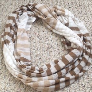 Old Navy Cream and Mocha Striped Infinity Scarf